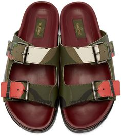 Valentino - Green and Burgundy Leather Camouflage Buckle Sandals
