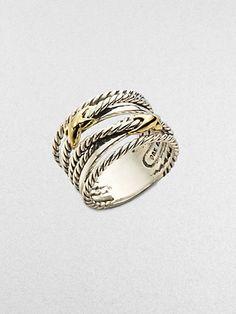David Yurman - Sterling Silver & 18K Gold Cable Ring - Saks.com
