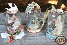 The beautiful set of The Twelve Days of Christmas handmade snow globes by Miranda! #graphic45 #scorpal #christmas