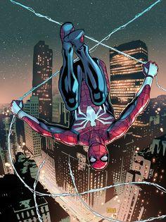 Line Art by Phillip Sevy Colors by Bryan Valenza Spider-Man © Marvel Marvel Comics, Marvel Art, Marvel Heroes, Marvel Avengers, Captain Marvel, Comic Collage, Comic Art, Spiderman Art, Amazing Spiderman
