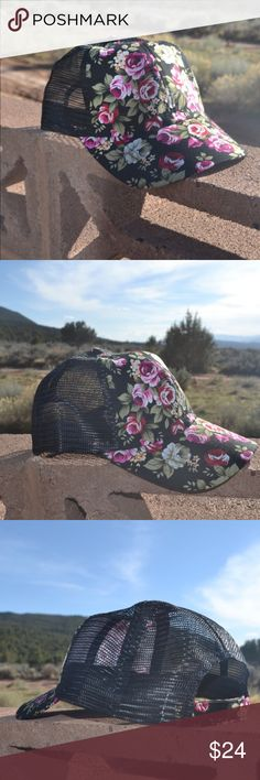 << Black Floral Mesh Back Trucker Baseball Hat >> Super New and SUPER cute!! This cute little trucker hat is perfect for the spring and summer!!! Mesh and Floral detail with Adjustable back Boutique Accessories Hats