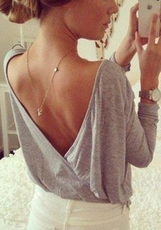Plunging V Back Top - Grey @LookBookStore