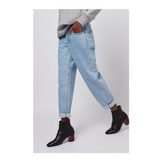 Bleach Wash Boy Jeans by Boutique (175 SAR) ❤ liked on Polyvore featuring jeans, bleach stone, rolled up jeans, topshop jeans, topshop, rolled jeans and bleached jeans