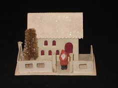 Japan Antique Village Putz Mica House Candy Container Christmas Ornament 1930's