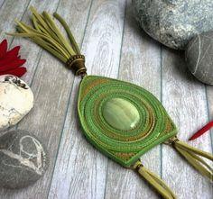"""Купить Кулон """"Гармония"""" с ониксом - зеленый, кулон с ониксом, оникс, полимерная глина, украшение для женщины"""