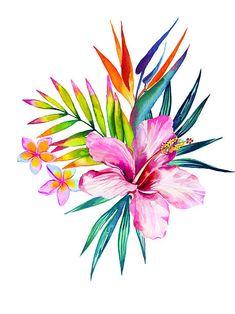 tropical floral bouquet vector art illustration