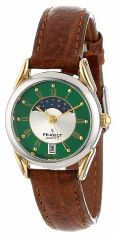 peugeot women's leather moon phase watch - 3032, brown | moon