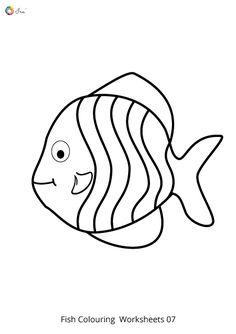 Free Downloadable Fish Worksheets for kids. Fish Coloring Page, Colouring Pages, Coloring Pages For Kids, Coloring Sheets, Fish Template, Work Sheet, Cute Fish, Fish Drawings, Rainbow Fish