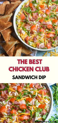 Chicken club sandwich dip is an easy appetizer inspired by the flavors of a the classic sandwich. This dip recipe is super easy to make ahead of time for your next get together and sure to be a hit!