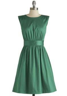 Too Much Fun Dress in Emerald Satin by Emily and Fin - Green, Solid, Casual, Daytime Party, Vintage Inspired, 50s, Fit & Flare, Sleeveless, ...