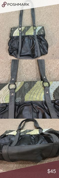 "Mautto Purse ""Vintage"" Mautto purse! Beautiful dark gray and black leather, with fabric accents. Has two inside zipper pockets, and two regular pockets inside. Extra leather protection on the bottom. Mossy green satin lining. Only stain is the ink stain inside (4th picture), otherwise in perfect condition! Bags Shoulder Bags"