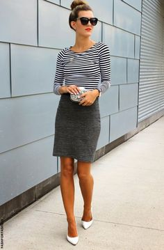 Pencil skirt+ stripes. Paired with a red lip and a bun and you're set for work!