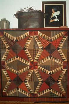 Love the colors and plaids... Primitive pieces by linda: PPL018 Fiddlin Around-pieced quilt