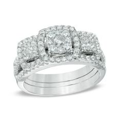 1 CT. T.W. Diamond Three Stone Frame Cluster Three Piece Bridal Set in 10K White Gold
