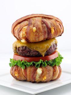The Bacon Wrapped Cheese Curd Bun Cheeseburger