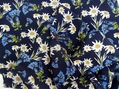 Vintage scarf oblong edelweiss and blue bells print by CHEZELVIRE, $12.00