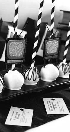 Twilight Zone birthday party cake pops!  See more party planning ideas at CatchMyParty.com!