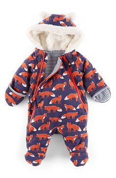 Free shipping and returns on Mini Boden Fox Print Front Zip Snowsuit (Baby Girls) at Nordstrom.com. Snuggle baby into this cozy little all-in-one and she'll stay toasty thanks to hand warmers and a soft, fuzzy hood. Front zippers make changing easier, while a clever fox print and cute ears keep her looking adorable.
