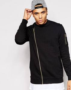 ASOS Longline MA1 Bomber Jacket In Jersey With Asymmetric Zip - Click link for product details :)