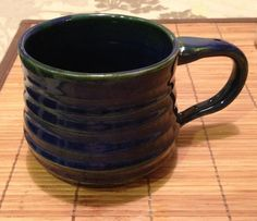 Blue green textured soup mug. $20.00, via Etsy.
