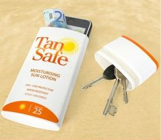 Imagen de keys, llaves,bloqueador solar, celular, dinero, cell phone, money, creative and sun lotion