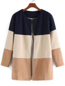 Color-block Round Neck Woolen Coat