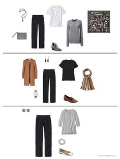 three ways to wear black corduroy pants from a capsule wardrobe based on an Hermes scarf