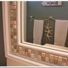 How to Decorate a Mirror with Tile {tiling}