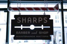 Sharps Barber and Shop. Barber Shop Interior, Barber Shop Decor, Hair Salon Interior, Salon Interior Design, Salon Design, Barber Shop Names, Barber Store, Barbershop Design, Barbershop Ideas