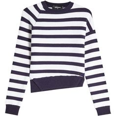 Dsquared2 Striped Wool Pullover (34.610 RUB) ❤ liked on Polyvore featuring tops, sweaters, stripes, stripe top, pullover sweaters, woolen sweater, white wool sweater and wool pullover sweater