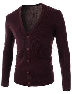 (FFC24-WINE) Mens V-neck Corduroy 5 Button Pocket Decoration Long Sleeve Cardigan