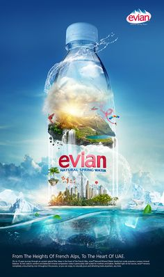 EVIAN natural spring water on Behance – … - Graphic Work Ads Creative, Creative Posters, Creative Advertising, Print Advertising, Print Ads, Creative Design, Advertising Ideas, Advertising Campaign, Poster Ads