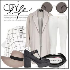 A check top with blush pink coat and chunky heels #fashion #style #inspiration