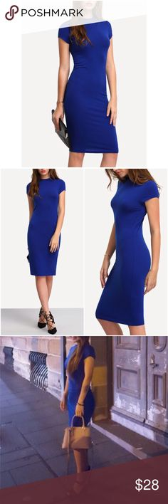 "Stretchy Cobalt Blue T-Shirt Bodycon Sheath Dress Take a look at this gorgeous stretchy midi sheath dress in a beautiful cobalt blue color! Comfy and soft cotton blend. High crewneck, short sleeves. Hemline teaches below the knees. Small: 29"" bust, 41"" length. No trades/holds. Bundle for 10% off! Dresses Midi"
