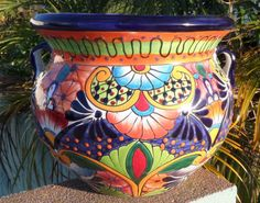 """Large 15"""" X 12"""" Talavera Mexican Pottery Bean Pot Planter Flower Pot Hi Relief 