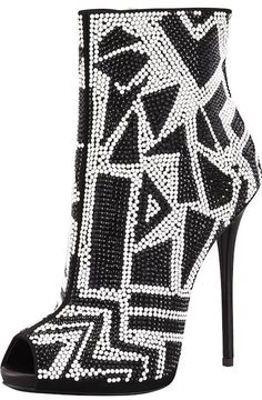 Crystallized Peep-Toe Bootie, Black/White by Giuseppe Zanotti. Go bold: a geometric arrangement of high-contrast crystals makes this Giuseppe Zanotti bootie an unforgettable statement piece. High Heel Boots, Bootie Boots, Ankle Boots, High Heels, Platform Boots, Rain Boots, Heeled Boots, Stilettos, Stiletto Heels