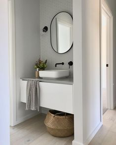 How's everyone's school holidays going? (If you're on them) Ours are flying, but no time to take pics of my home, so here's another angle… Bathroom Styling, Bathroom Interior Design, Interior Design Living Room, Bathroom Storage, Bathroom Colors, White Bathroom, Small Bathroom, Home Design, Scandinavian Bathroom