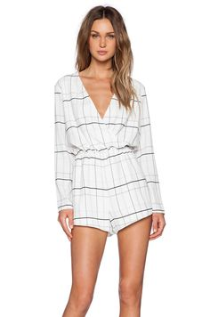 5bade830fc The Fifth Label Party Talk Playsuit in White Tartan Print