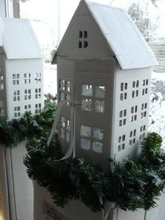 Be-House: Winterhouses out of cardboard. would be cute made with Masonite or luan. Christmas Paper, Christmas Home, Christmas Holidays, Christmas Crafts, Scandi Christmas, White Christmas, Putz Houses, Fairy Houses, Diy Arts And Crafts