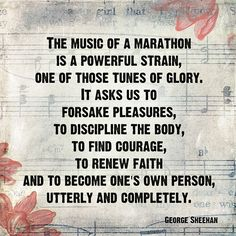 music of a marathon - I'm training for my 1st half and it definitely has taken discipline to stick with the training!!! I can't wait to say I DID IT!