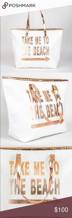 Spotted while shopping on Poshmark: ✨Available✨Large Beach Tote In Rose Gold! #poshmark #fashion #shopping #style #Kat's Boutique #Handbags
