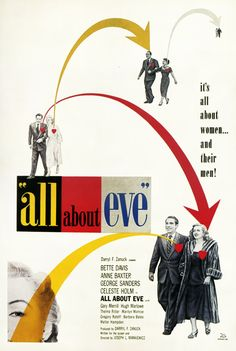 Erik Nitsche, poster design for All about Eve with Bette Davis, 1950. My senior year at RISD we did a poster project for Sunset Boulevard. This would have been good reference for that!