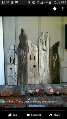 how to degorate your home for Halloween. gosts made out of old wood. perfet decoration for Halloween Halloween Wood Crafts, Halloween Signs, Holidays Halloween, Fall Halloween, Rustic Halloween Decorations, Halloween Ghosts, Fall Wood Crafts, Rustic Crafts, Halloween Decorating Ideas