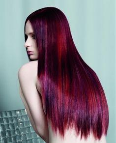 Long red/purple hair