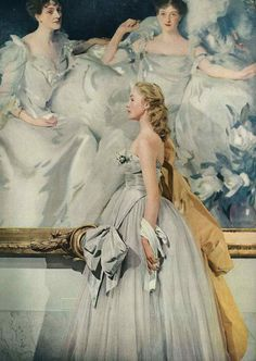 A Ballet dancer posing ... amazing how she fits in with the painting .. per: 1940's