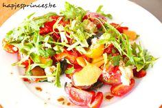salade met meloen, puntpaprika en geitenkaas