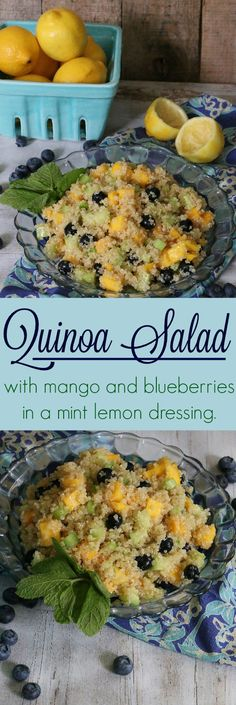 A refreshing take on the fruit salad: Quinoa Salad with Mango and Blueberries in a Lemon Mint Dressing #summer_salad #healthy #easy_dish