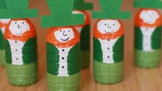 Leprechaun Bowling Pins--Plastic water bottles go green for this St. Patrick's Day craft.