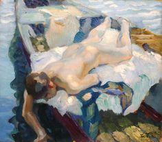 """Leo Putz,""""Liegender Akt am Kahn"""", Öl auf Leinwand, 66,5 x 74 cm,rechts unten signiert und datiert: Leo Putz 1912 Foto: Giese & Schweiger © VBK, Wien, 2012"""