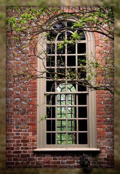 Bruton Parish Church window. Episcopal church colonial Williamsburg, Va.